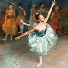 Dancer in Green -- Misty Copeland in an exhibit recreating ballet artworks by Edgar Degas -- NYC Dance Project in Harper's Bazaar
