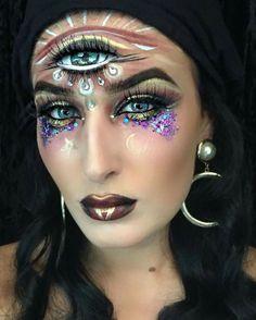 Amazing glitter fortune teller makeup. Www.thegypsyshrine.com