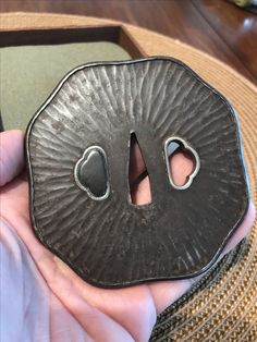 Iron tsuba with silver and shakudo hitsu ana added to the collection of David W. Easley.  8.48mm 8.20mm 4.9mm  203g