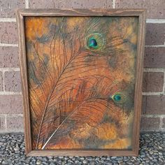 Peacock Feather and Lace Canvas Art with Modern Masters Metal Effects Rust   Artistry by Scarlet Johnson of J82 Studios