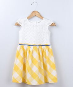 Look what I found on #zulily! Bee-Young Yellow Plaid Schiffli Dress - Girls by Bee-Young #zulilyfinds