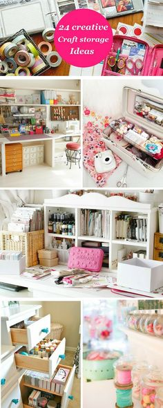 In need of some craft storage ideas for your home office? Whether you are using floral tupperware, childrens wall shelves, bathroom organizers or desktop drawers, there are loads of crafty ideas that Sewing Room Organization, Craft Room Storage, Home Office Organization, Home Office Decor, Storage Ideas, Craft Rooms, Home Decor, Shelf Ideas, Office Storage