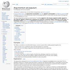 Argumentum ad populum @ Wikipedia
