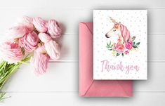 Unicorn Thank You Cards Watercolor Thank You Notes Birthday Wedding Invitation Suite, Wedding Stationery, Thank You Notes, Thank You Cards, Printable Cards, Printables, Birthday Thank You, Watercolor Flowers, Unicorn