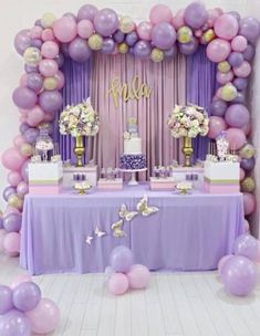 Balloon Garland Floroal Installation Floral Garland Foil Balloon Pastel Balloons Smash Cake First Birthday Party Lavender Baby Showers, Baby Shower Purple, Butterfly Baby Shower, Baby Girl Shower Themes, Girl Baby Shower Decorations, Baby Shower Centerpieces, Butterfly Table, Shower Baby, Ballons Pastel