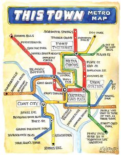 "A handy map of the Washington Political Transit System sketched out in the new book, ""This Town"" by Mark Leibovich."