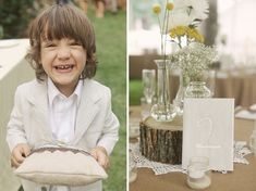 love the ring bearer pillow - so homemade and natural.  I imagine the rings being tied to the pillow so that little man wouldn't be able to drop them.  also LOVE the tree trunk on the right being used to help vary heights at the table... gotta love rustic / natural elements - oh, and the doily adds the perfect accent of feminine vintage  :)