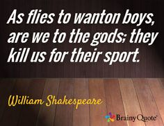As flies to wanton boys, are we to the gods; they kill us for their sport. / William Shakespeare