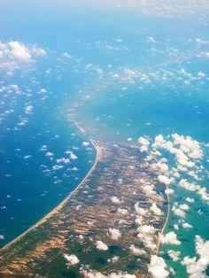 Rama Setu (Adam's) bridge as seen from the air, Rameshwaram, Tamil Nadu, India