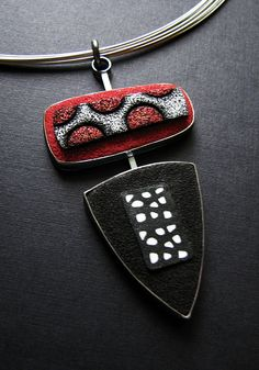 Black, White and Red Series Pendant - Oxidized Sterling Silver and Hand Colored Polymer Clay. www.gracestokesdesigns.com