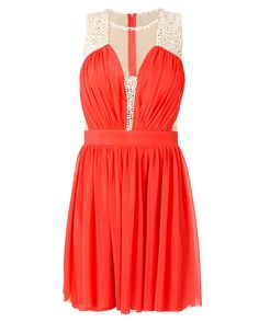 Vestido curto de microtule bordado pérolas - Vestidoteca