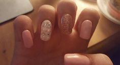 Baby pink and rose glitter nails