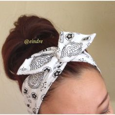 White Paisley Bandana Dolly Bow Headband, Wire Option Available ($12) ❤ liked on Polyvore featuring accessories, hair accessories, bandana headband, headband hair accessories, white bandana, head wrap headband and white hair accessories