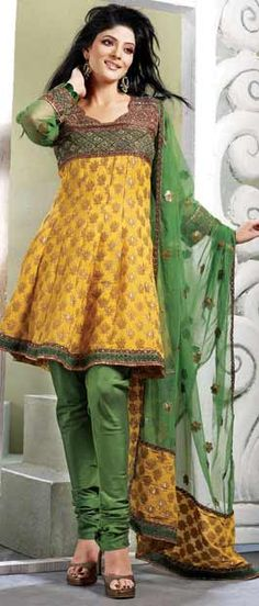 #Olive #Green and Mustard Viscose Churidar Kameez with Dupatta @ $109.12 | Shop Here: http://www.utsavfashion.com/store/sarees-large.aspx?icode=sbs392