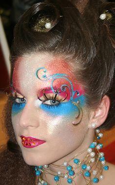 fantasy makeup - for halloween Exotic Makeup, Unique Makeup, Creative Makeup, Fantasy Make Up, Fantasy Hair, Make Up Art, Eye Make Up, Airbrush, Carnival Makeup
