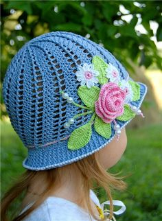 Blue Baby Hat with Rose Crochet Pattern Automatic PDF Download