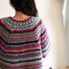 Knitting Patterns Mohair Ravelry: Freja Multi Striped Sweater pattern by Sus Gepard Crochet Jumper Pattern, Sweater Knitting Patterns, Hand Knitting, Knit Crochet, Mohair Sweater, Beginner Crochet Tutorial, Striped Knit, Knitwear, Jackets