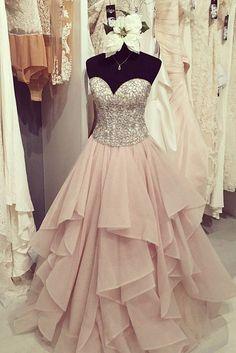 Organza A line Evening Prom Dresses, Long Beaded Party Prom Dress, Custom Long Prom Dresses, Cheap Formal Prom Dresses, 17054