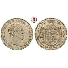 Sachsen, Königreich Sachsen, Friedrich August II., 1/6 Taler 1843, vz+: Friedrich August II. 1836-1854. 1/6 Taler 1843 F. AKS 104;… #coins