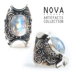 Exquisite metalwork paired with a massive iridescent moonstone. Handmade | Sterling Silver | Genuine Moonstone {{bohemian, gypsy jewels, boho, festival}}