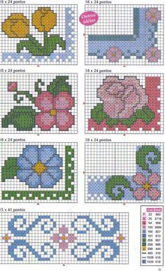 Schema punto croce Bordi-fiori-vari-3