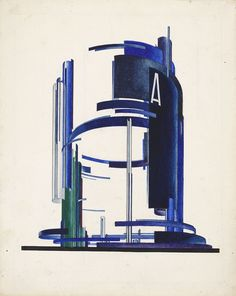 Yakov Chernikhov, Set design with concave surfaces, late Modern Architecture Design, Architecture Drawings, Amazing Architecture, Conceptual Architecture, Constructivism Architecture, Russian Constructivism, Art Nouveau, Facade Lighting, Design Museum
