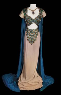 """Two piece gown adorned with peacock-feather eye appliqués worn by Hedy Lamarr as """"Delilah"""" in Samson and Delilah (1949)"""