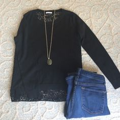 Club Monaco black sweater lace back size m Excellent condition sweater. Worn once. Tag with size cut off b/c it scratched. Original price $169! Club Monaco Sweaters Crew & Scoop Necks