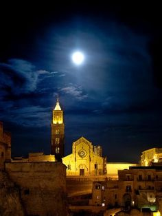 Sassi di Matera, Italy ~ Bight & Full Moon