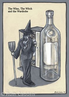 The Wine, The Witch and The Wardrobe - Giclee Print Woman Wine, Giclee Print, Witch, Halloween, Gallery, Artist, Artwork, Decor, Work Of Art
