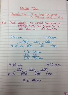 The 4th Grade May-niacs: Elapsed Time - very similar to what I teach, but horizontal