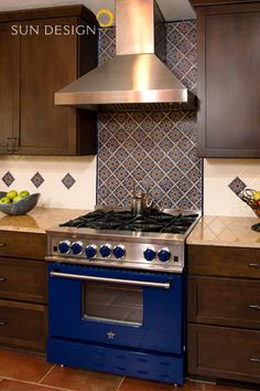 Blue Star Kitchen Stove with Mexican Backsplash Tiles