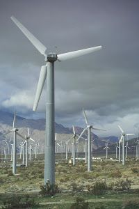 Clean Energy by Dennis Begnoche - Photo taken of wind turbines in Palm Springs California. Click on the image to enlarge.