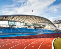 archi5 twists canopy structure above léo lagrange stadium in toulon