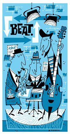 Derek Yaniger Creates Cool Retro Illustrations, Clip Art Images, Fine Art Paintings, Serigraphs, and Tiki Mugs Inspired by Cocktail Napkin Art of the Art And Illustration, Musik Illustration, Retro Kunst, Retro Art, Sketch Manga, Jazz Poster, Kunst Poster, Jazz Art, Retro Cartoons