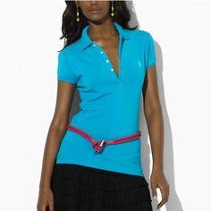 2d9d20848e8d6 Ralph Lauren Mesh Women Featured Notch Short Sleeved Polo Blue Outlet  Online Cheap Ralph Lauren Polo