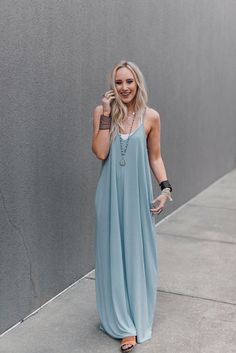 Perfection Pocket Maxi Dress - Ash Blue