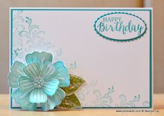 Yesterday I had my second play with the Stampin' Up! Bunch of Blossoms Stamp Set. The sentiment is from the Rose Wonder Stamp Set. www.janbcards.com