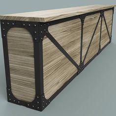 Riveted bar/counter concept. #rivets #industrialfurniture #bar #restaurant #reception #counter #worktop