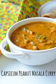 Capsicum peanut masala curry – Famous Last Words Vegetarian Gravy, Vegetarian Curry, Vegetarian Recipes Dinner, Vegetable Recipes, Peanut Masala, Peanut Curry, Veg Curry, Masala Curry, Curry Goat