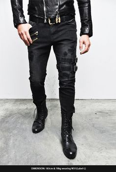 Bottoms :: Jeans :: Belted Rebel Grunge Black Slim Biker-Jeans 173 - Mens Fashion Clothing For An Attractive Guy Look