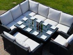 Outdoor Rattan Corner Dining Set In Black