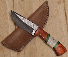 ASH SK222BRW DAMASCUS STEEL CUSTOM HAND MADE SKINNER KNIFE
