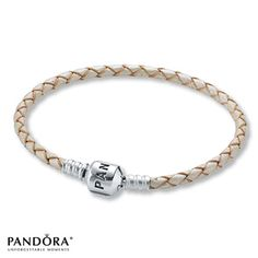 "Pandora Champagne Leather 7.5"" Bracelet"