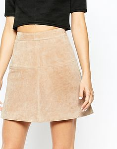 Image 3 ofRiver Island Suede A Line Mini Skirt