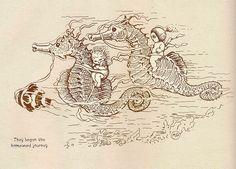 They Began the Homeward Journey - Gumnut Babies by May Gibbs. Seahorse Art, Seahorses, Vintage Fairies, Mermaids And Mermen, Baby Tattoos, Australian Art, Flower Fairies, Children's Book Illustration, Faeries