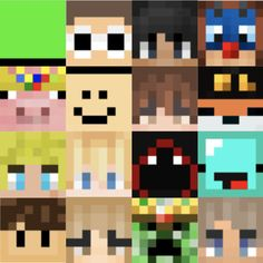Minecraft Heads, Minecraft Face, Minecraft Pixel Art, Minecraft Designs, Minecraft Crafts, Canvas Painting Designs, Canvas Art, Painting Minecraft, Minecraft Room Decor