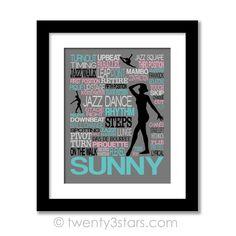 Jazz Dance Typography Wall Art - Choose Any Colors - twenty3stars
