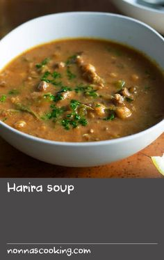 Harira soup | Harira is a soup traditionally eaten during the holy month of Ramadan to break the daily fast, which begins at dawn and ends at sunset. It's also served on special occasions, such as the morning after a wedding. Rice and noodles are commonly added to harira to bulk it up and make it suitable for an everyday meal.
