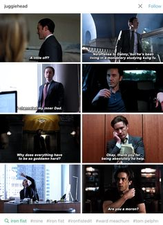 He became a fascinating train wreck. His father's a psychotic dick, but he clearly lost his mind about halfway through the season. Marvel Show, Loki Marvel, Marvel Series, Marvel Comics, Avengers, Ward Meachum, Tom Pelphrey, Iron Fist Marvel, Marvel Cinematic Universe
